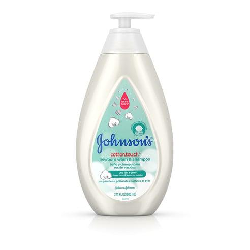 Frasco de jabón líquido y champú para recién nacido Johnson's® CottonTouch™