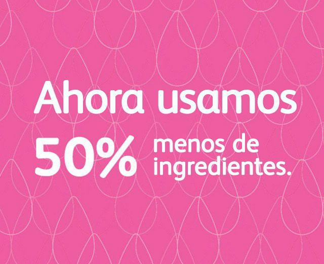 ícono de 50% menos ingredientes en productos para bebé