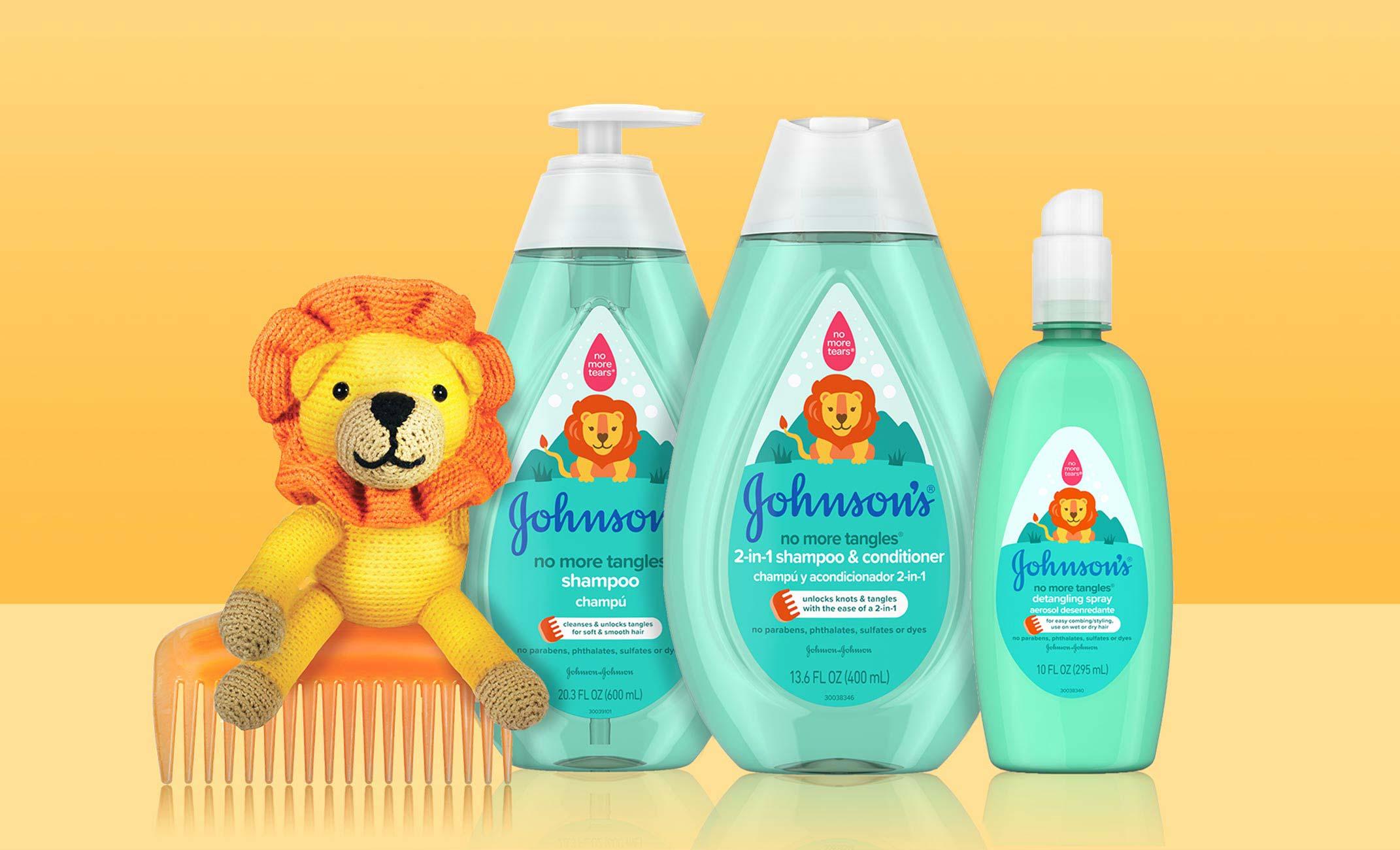 Colección de productos Johnson's® No More Tangles® para desenredar el cabello de los niños