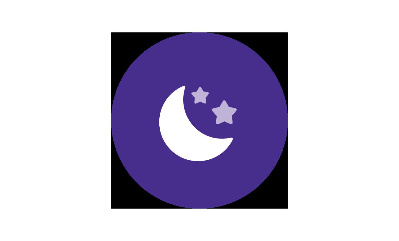 Ícono de luna del momento de tranquilidad de la rutina Johnson's® para la hora de dormir al bebé